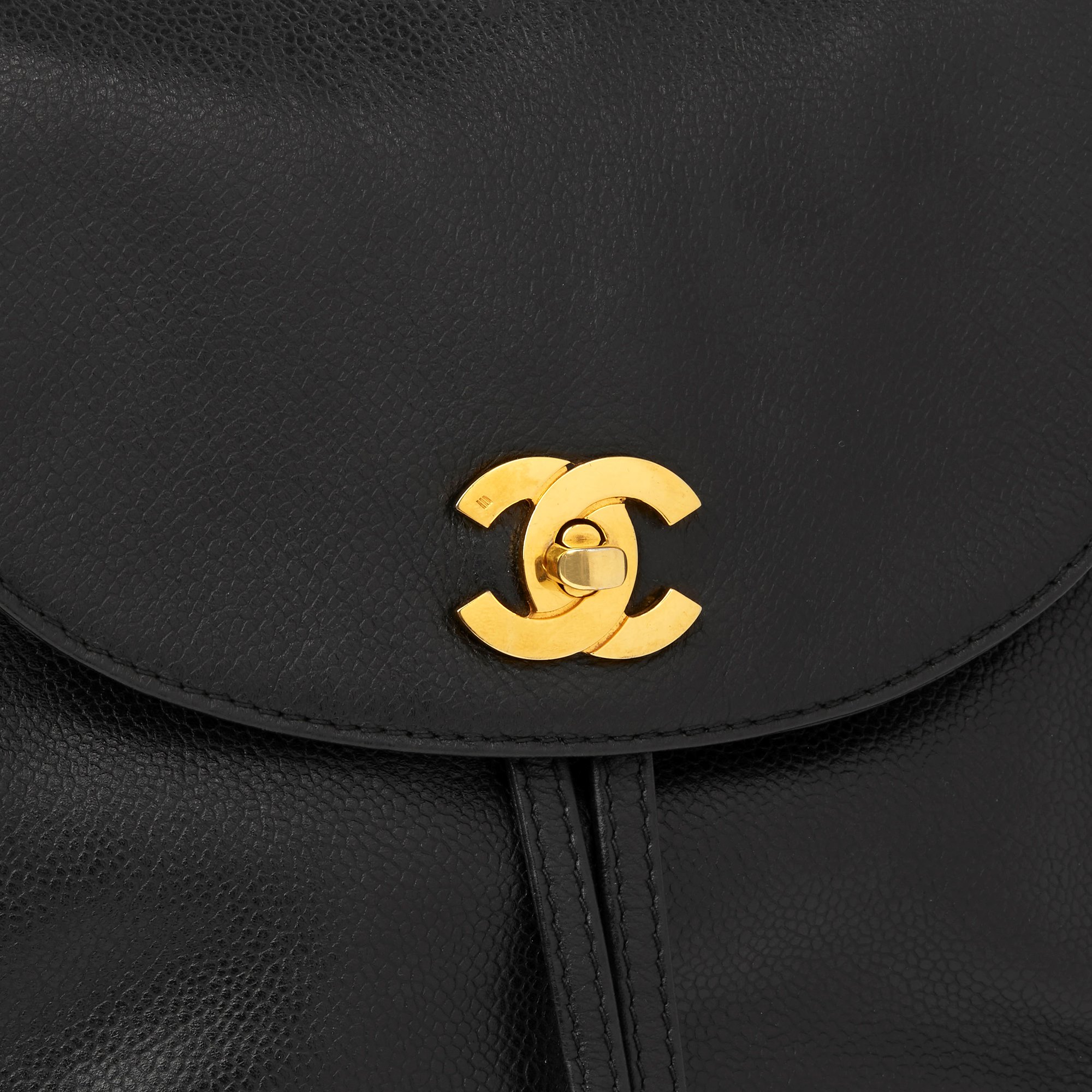 Chanel Black Caviar Leather Vintage Logo Trim Classic Backpack
