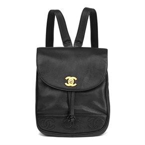 Chanel Black Caviar Leather Vintage Logo Trim Classic Backpack
