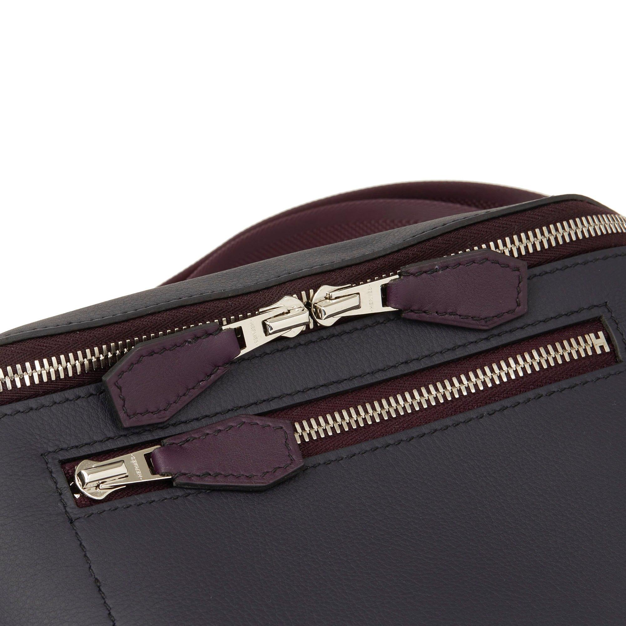 Hermès Indigo & Raisin Cristobal, Veau Doblure Leather Cityslide Cross PM