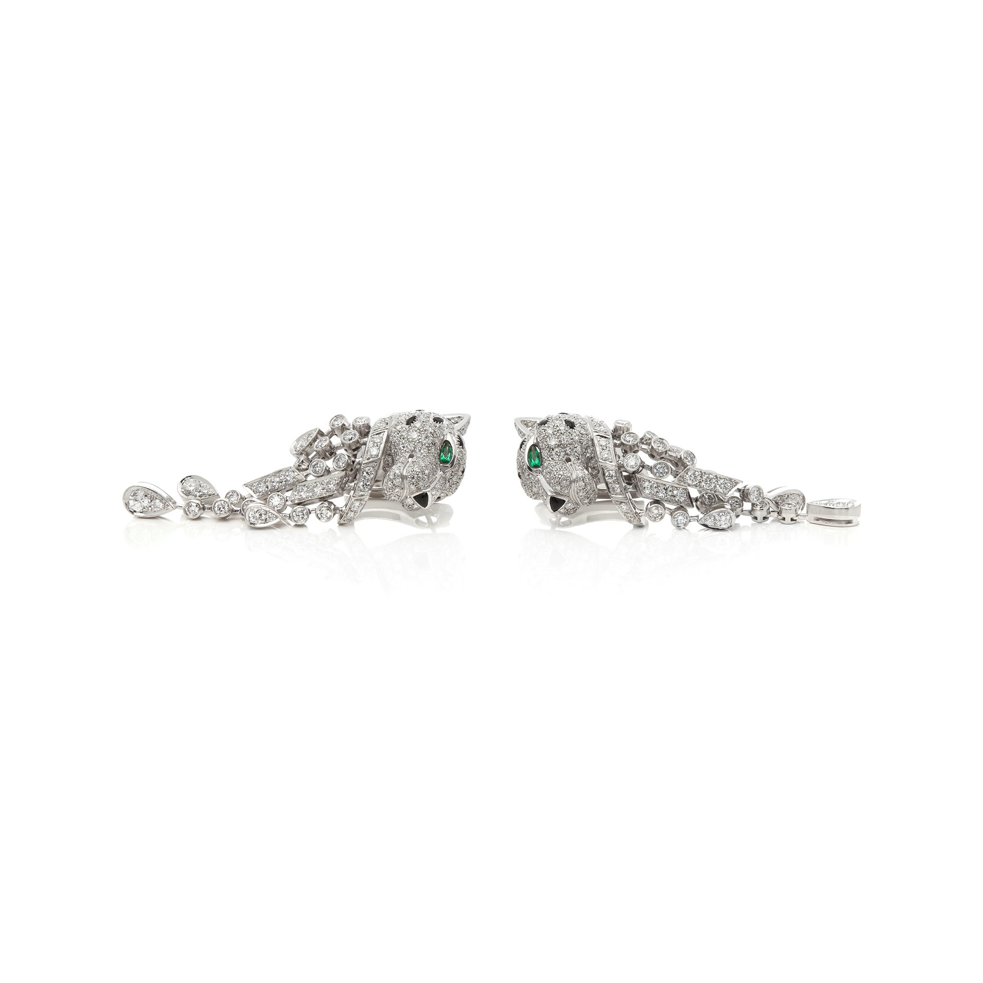 Cartier Platinum Diamond, Emerald & Onyx Panthère Earrings In The Style Of Cartier