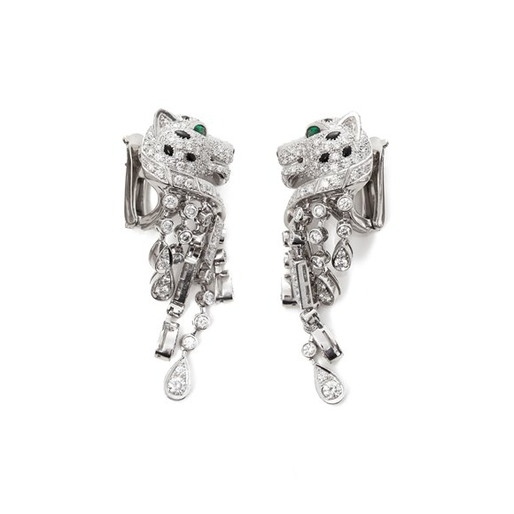 Cartier Platinum Diamond, Emerald & Onyx Panthère Earrings