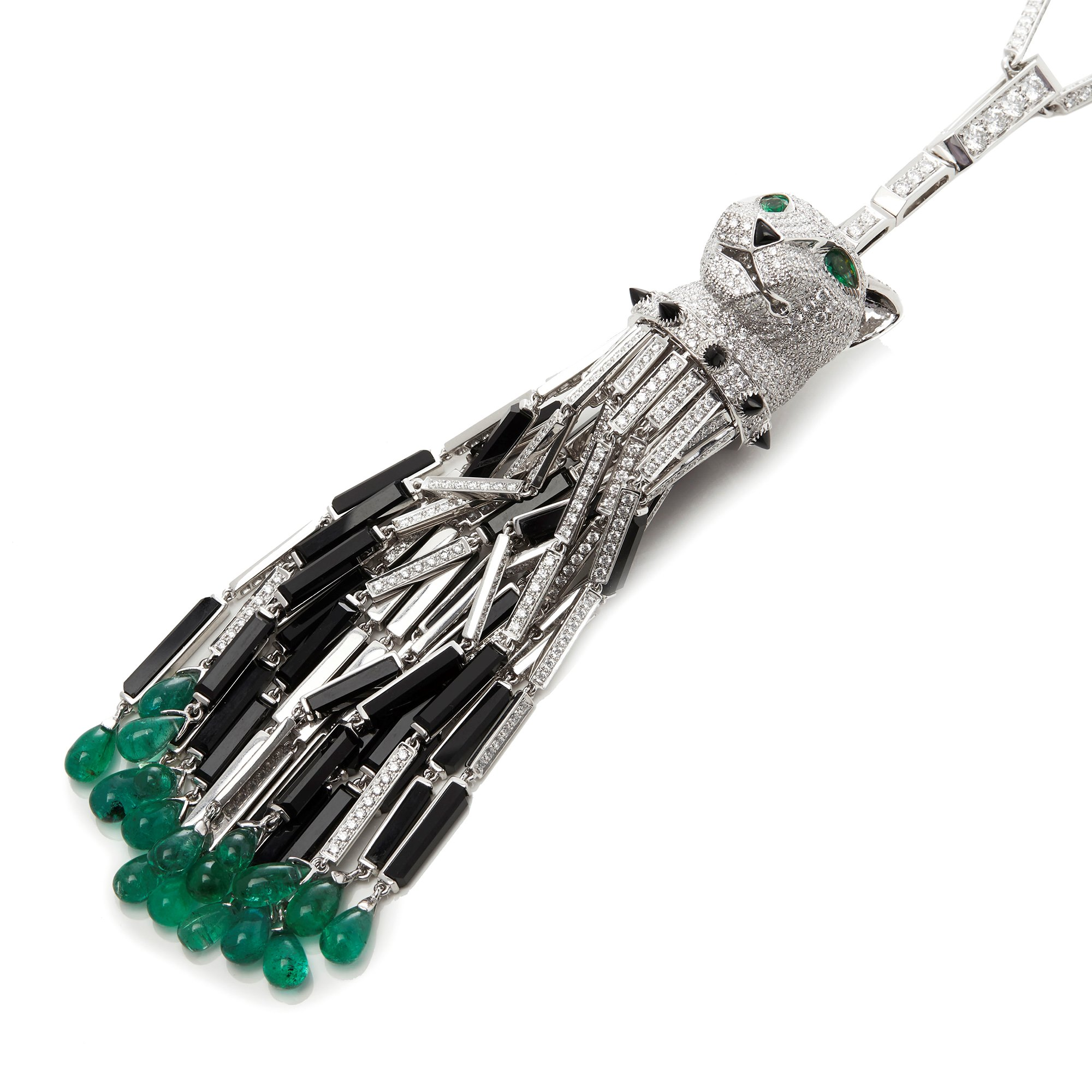 Cartier 18k White Gold Diamond, Emerald & Onyx Panthère Pendant Necklace In The Style Of Cartier