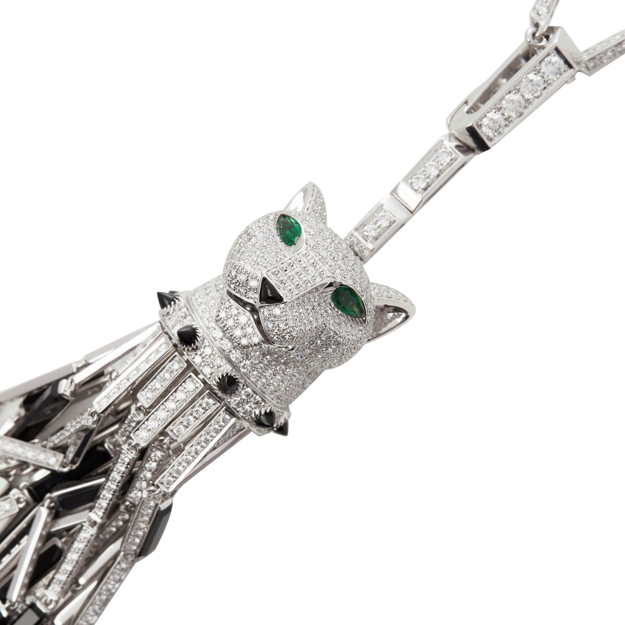 Cartier 18k White Gold Diamond, Emerald & Onyx Panthère Pendant Necklace