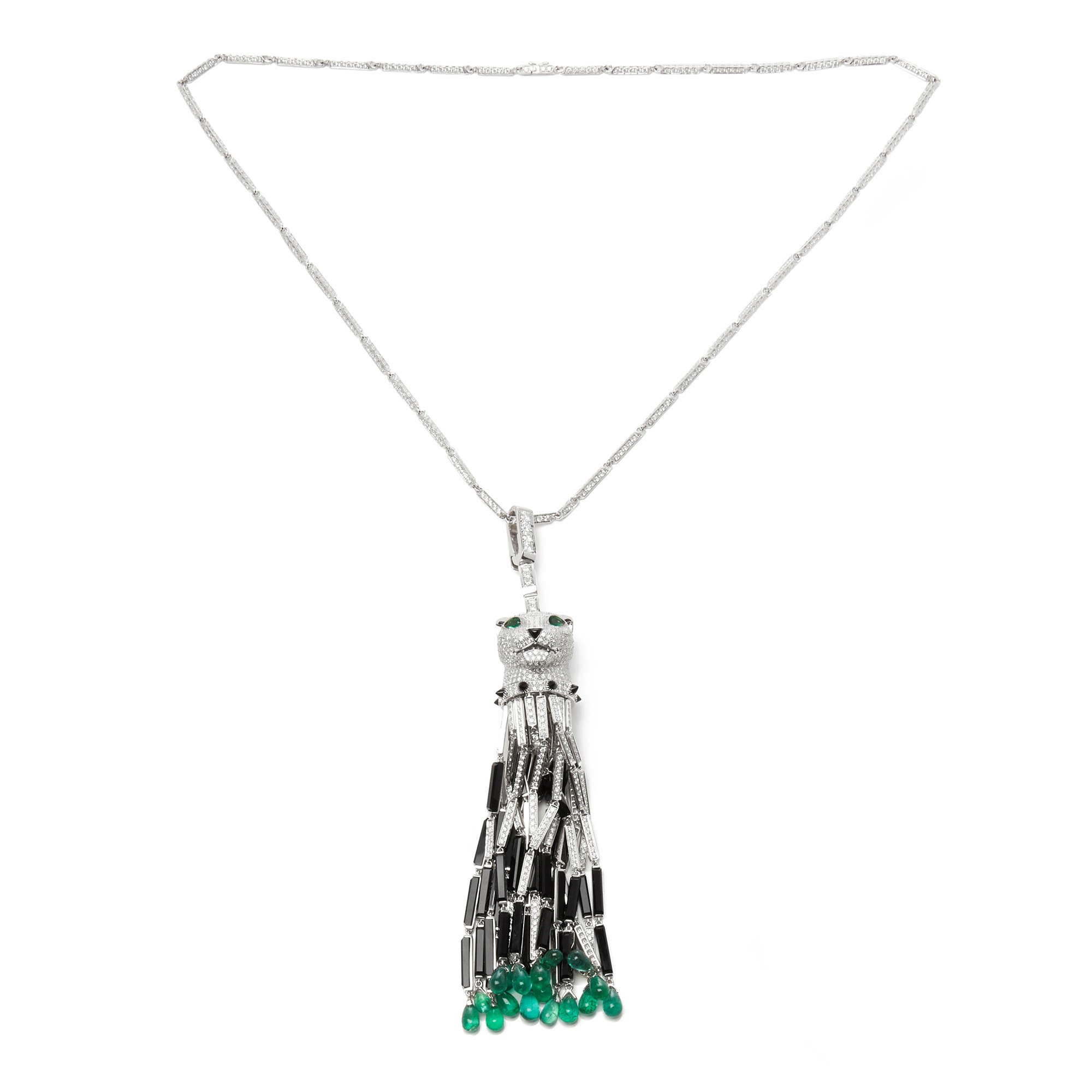Cartier 18k White Gold Diamond, Emerald & Onyx Panthère Pendant Necklace