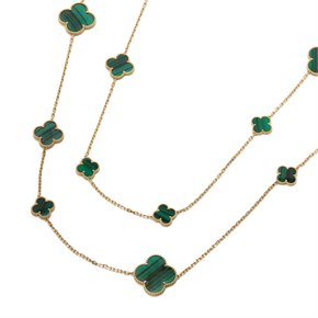 Van Cleef & Arpels 18k Yellow Gold Malachite Magic Alhambra Necklace