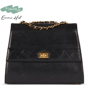 Chanel Black Quilted Lambskin Vintage Trapeze Classic Single Flap Bag
