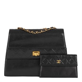 Chanel Black Quilted Lambskin Vintage Trapeze Classic Single Flap Bag with Wallet