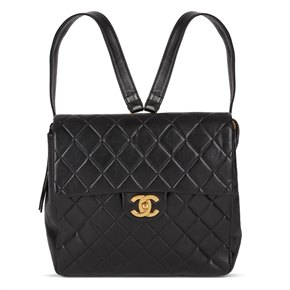 Chanel Black Quilted Lambskin Vintage Classic Timeless Backpack