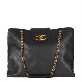 Chanel Black Quilted Lambskin Leather Vintage Jumbo XL Supermodel Tote