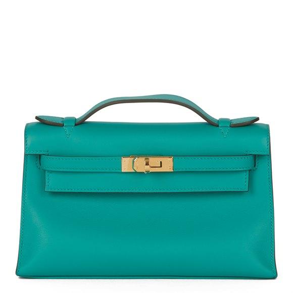 Hermès Vert Verone Swift Leather Kelly Pochette