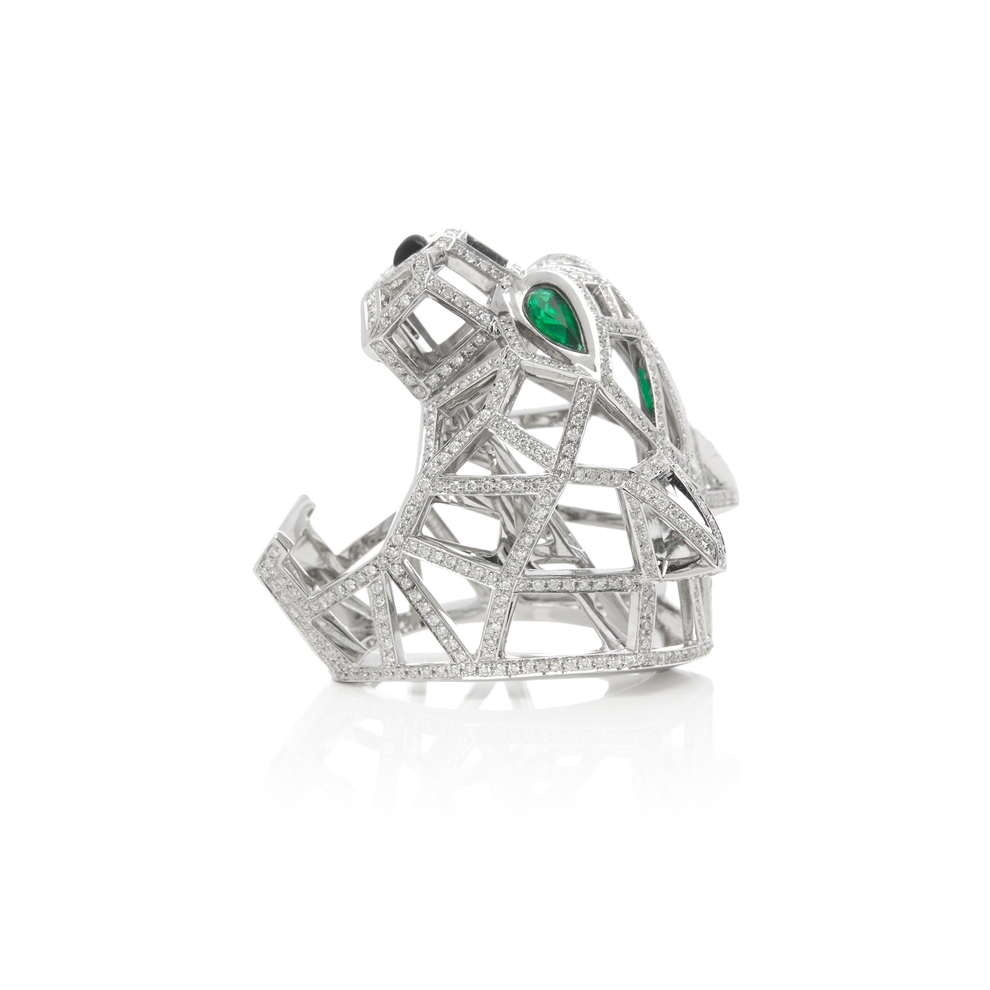 Cartier 18k White Gold Diamond, Emerald & Onyx Ring In The Style Of Cartier