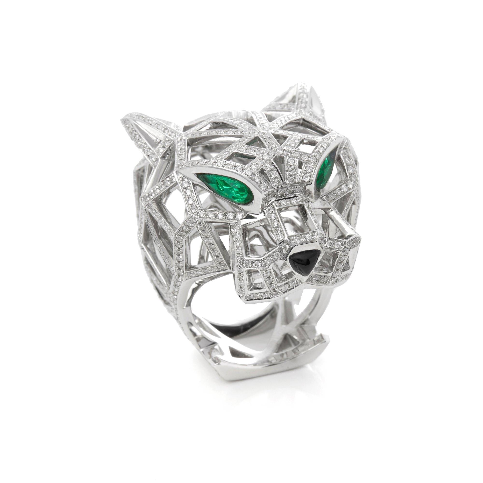 Cartier 18k White Gold Diamond, Emerald & Onyx Panthère Ring
