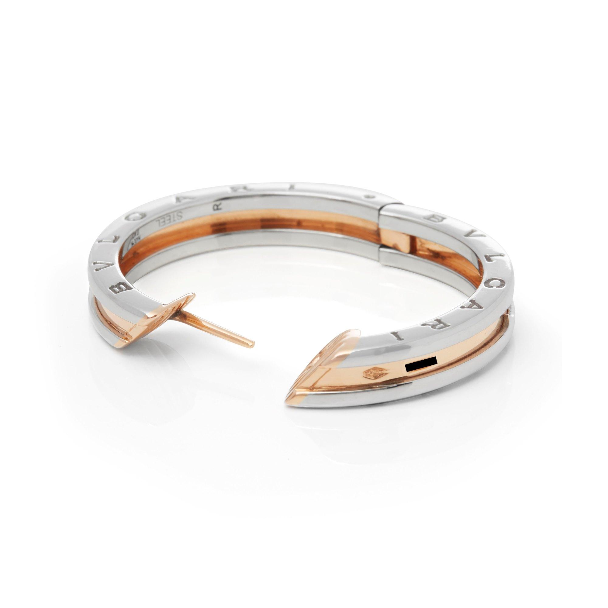 Bulgari 18k Rose Gold & Stainless Steel B.Zero 1 Earrings