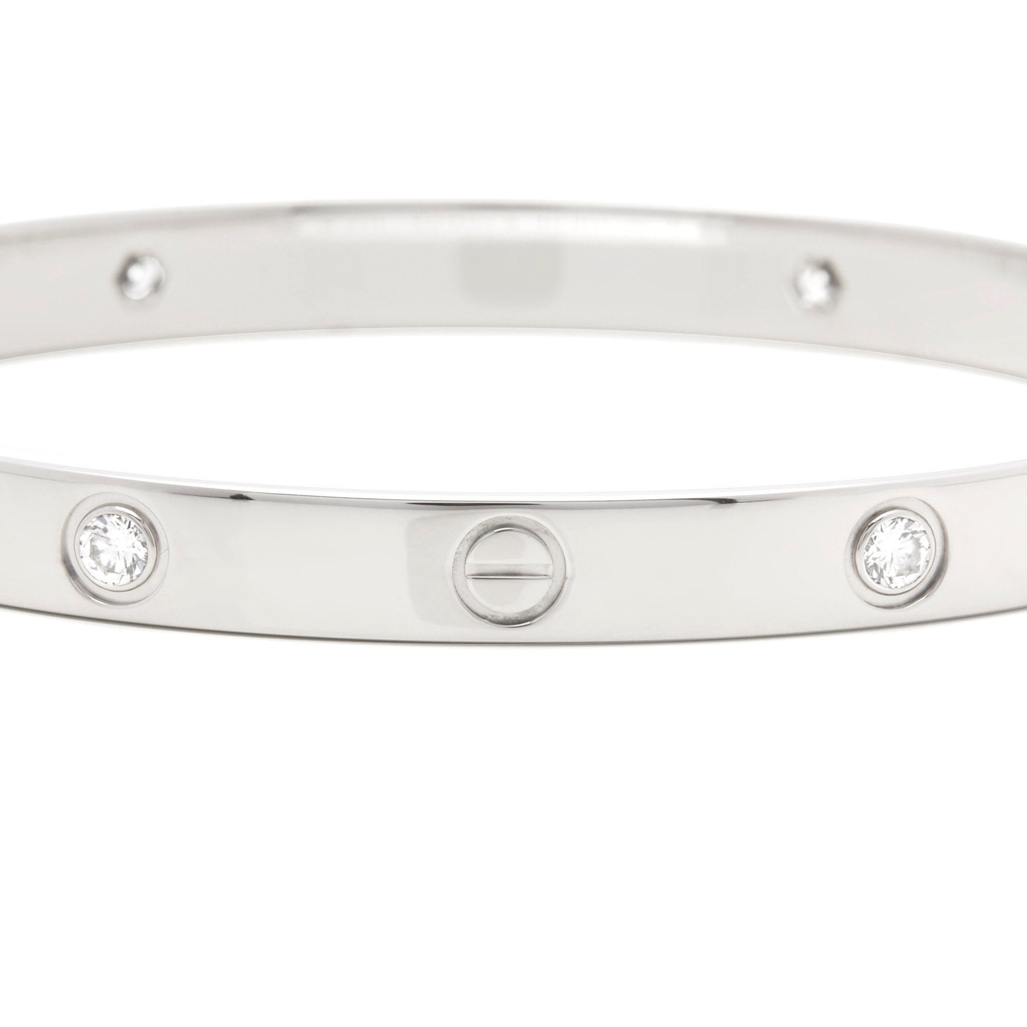 Cartier 18k White Gold 4 Diamond Love Bangle Size 18