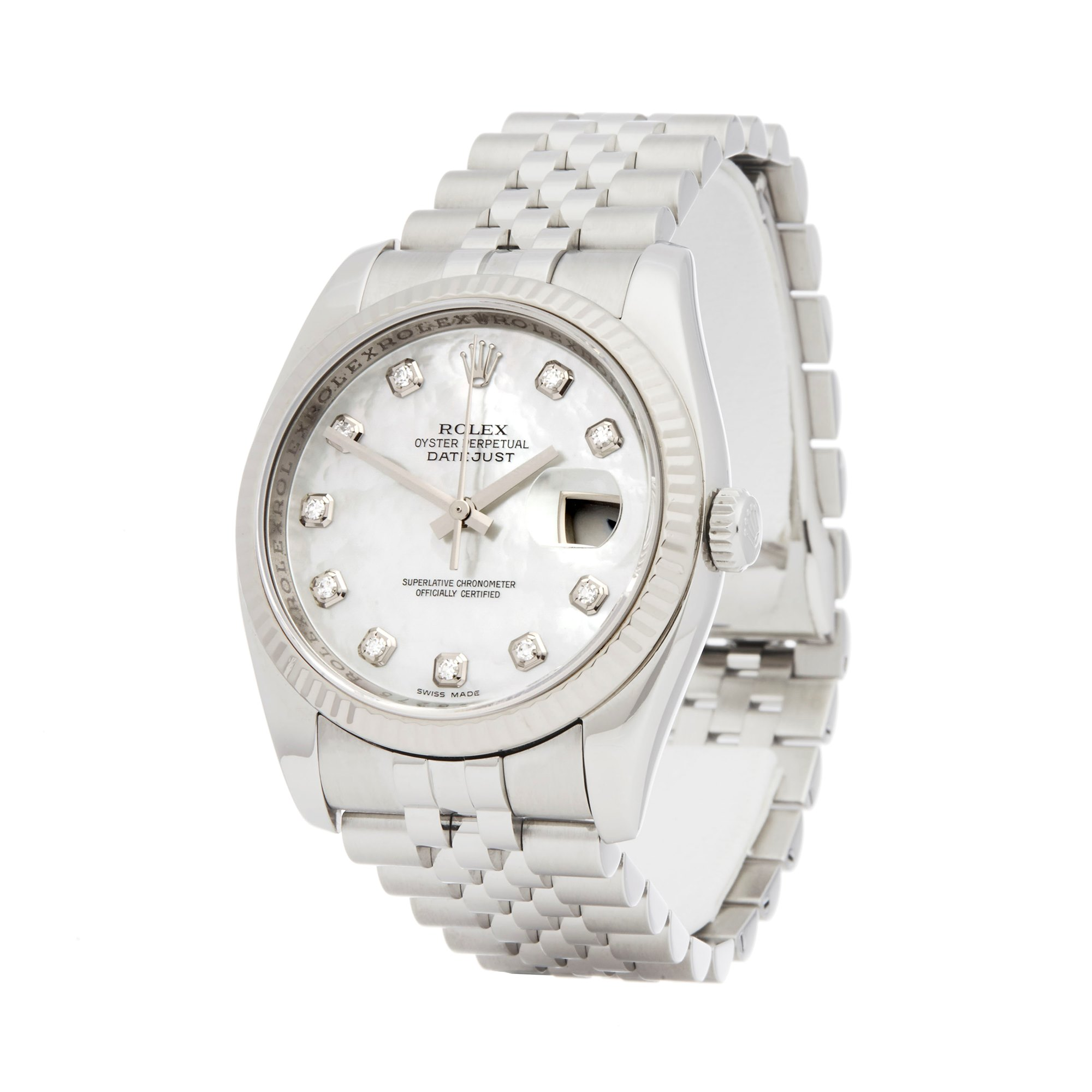 Rolex Datejust 36 Diamond Mother Of Pearl Stainless Steel & White Gold 116234
