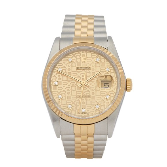 Rolex DateJust 36 Diamond Stainless Steel & Yellow Gold - 16233