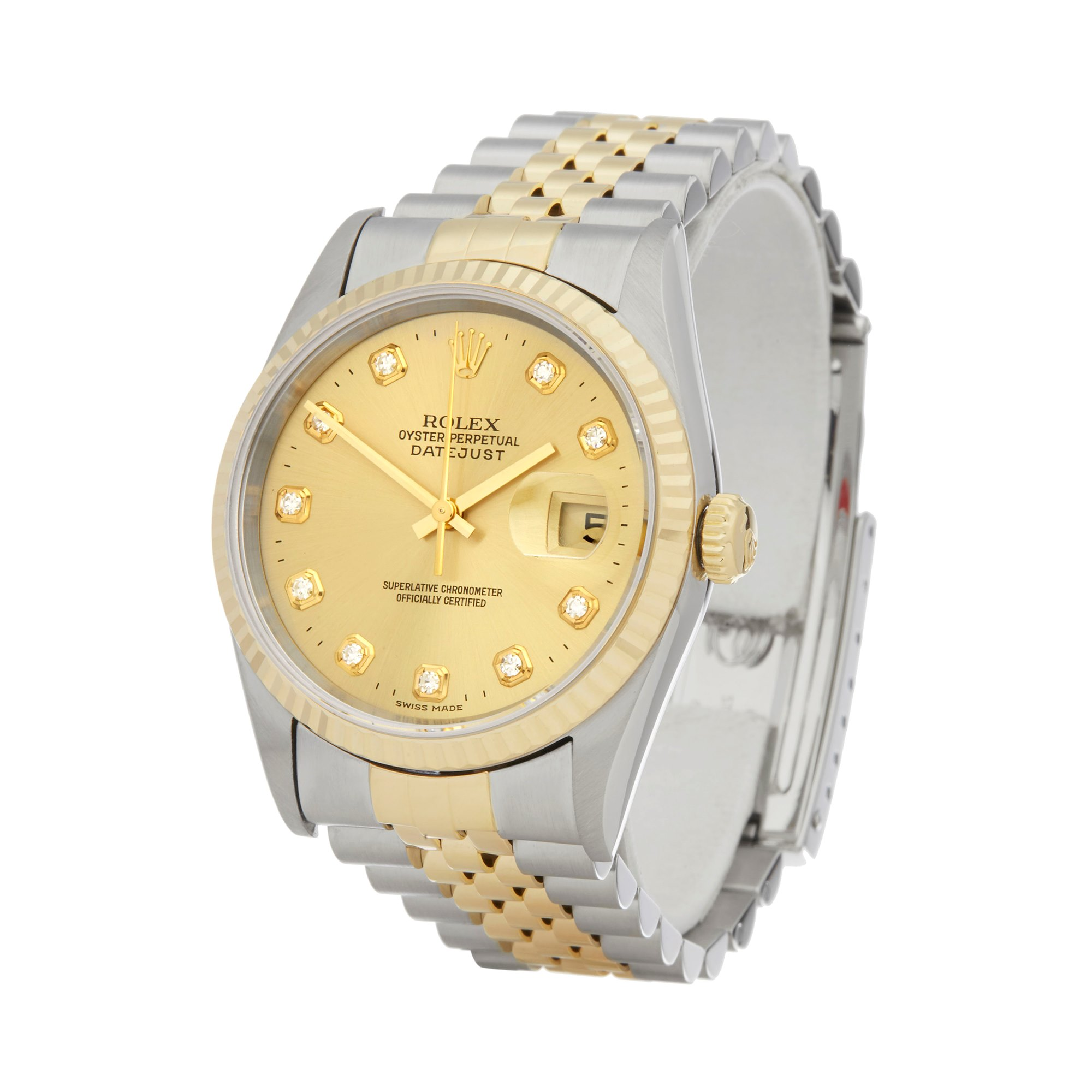 Rolex Datejust Diamond Stainless Steel & Yellow Gold 16233