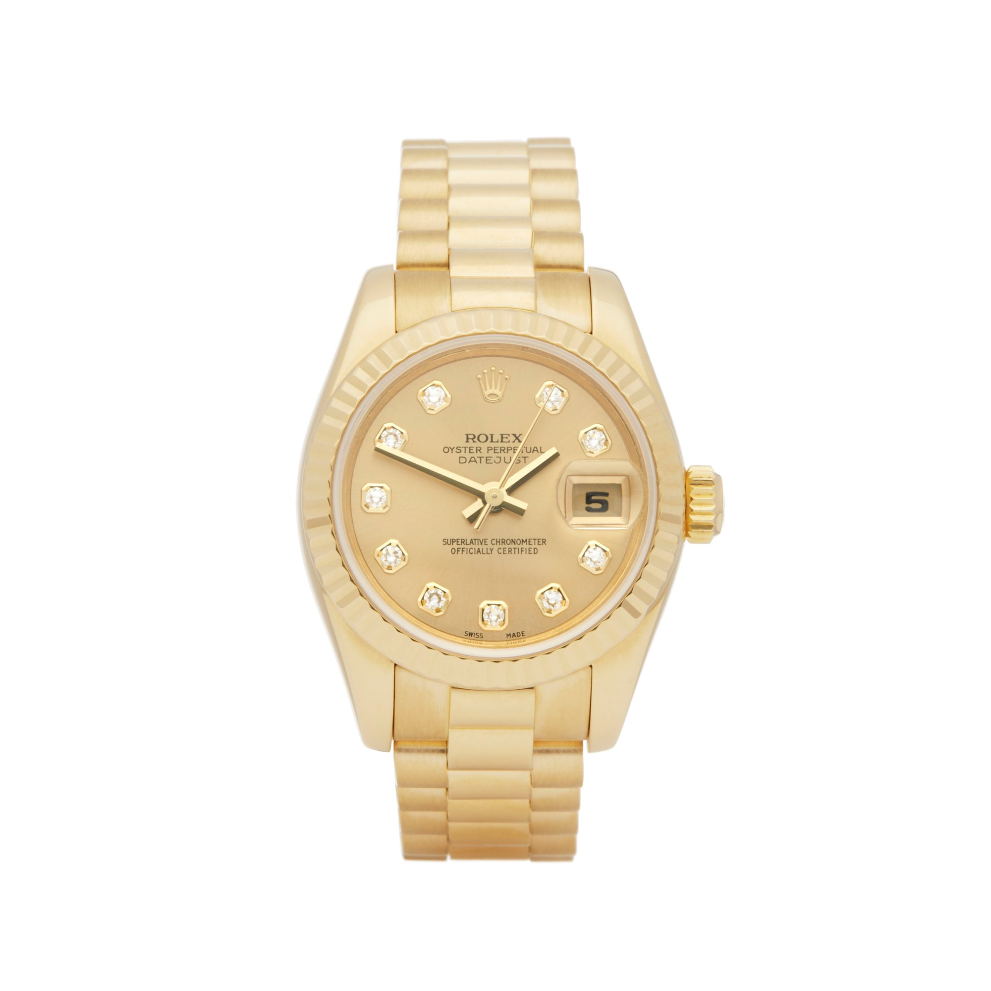 Rolex DateJust 26 Diamond 18k Yellow Gold 179178
