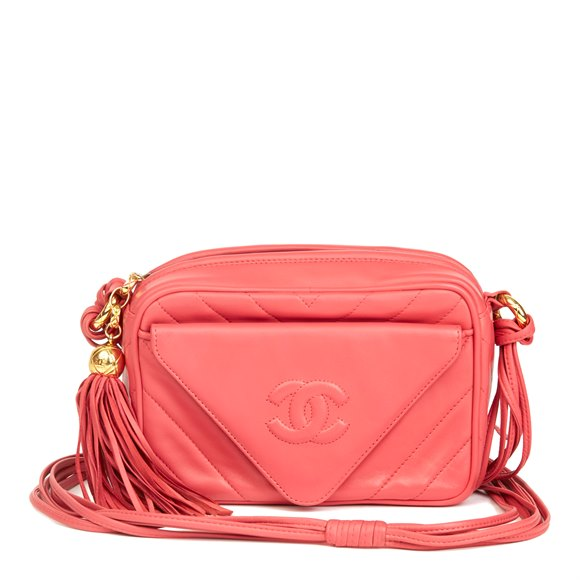 Chanel Pink Chevron Quilted Lambskin Vintage Timeless Camera Bag