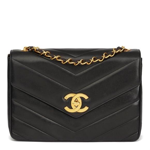 Chanel Black Chevron Quilted Lambskin Vintage Jumbo XL Flap Bag