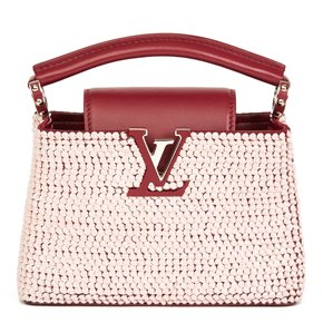 Louis Vuitton Burgundy Sequin Embellished Smooth Calfskin Leather Capucines BB