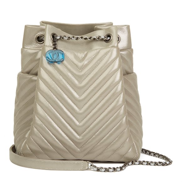 Chanel Silver Metallic Chevron Quilted Calfskin Leather Small Urban Spirit Bucket Bag