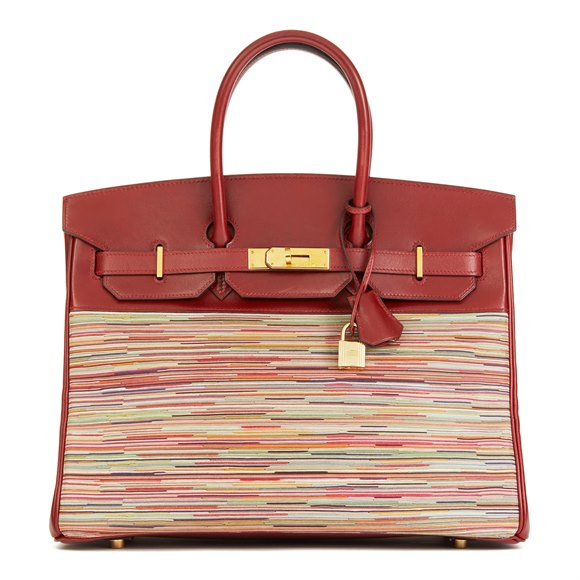 Hermès Rouge H Box Calf Leather Vibrato Birkin 35cm