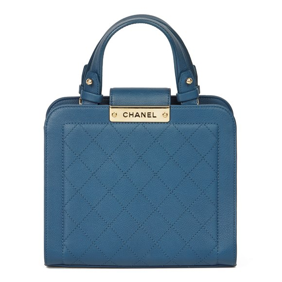 Chanel Blue Quilted Calfskin Leather Small Label Click Shopping Tote