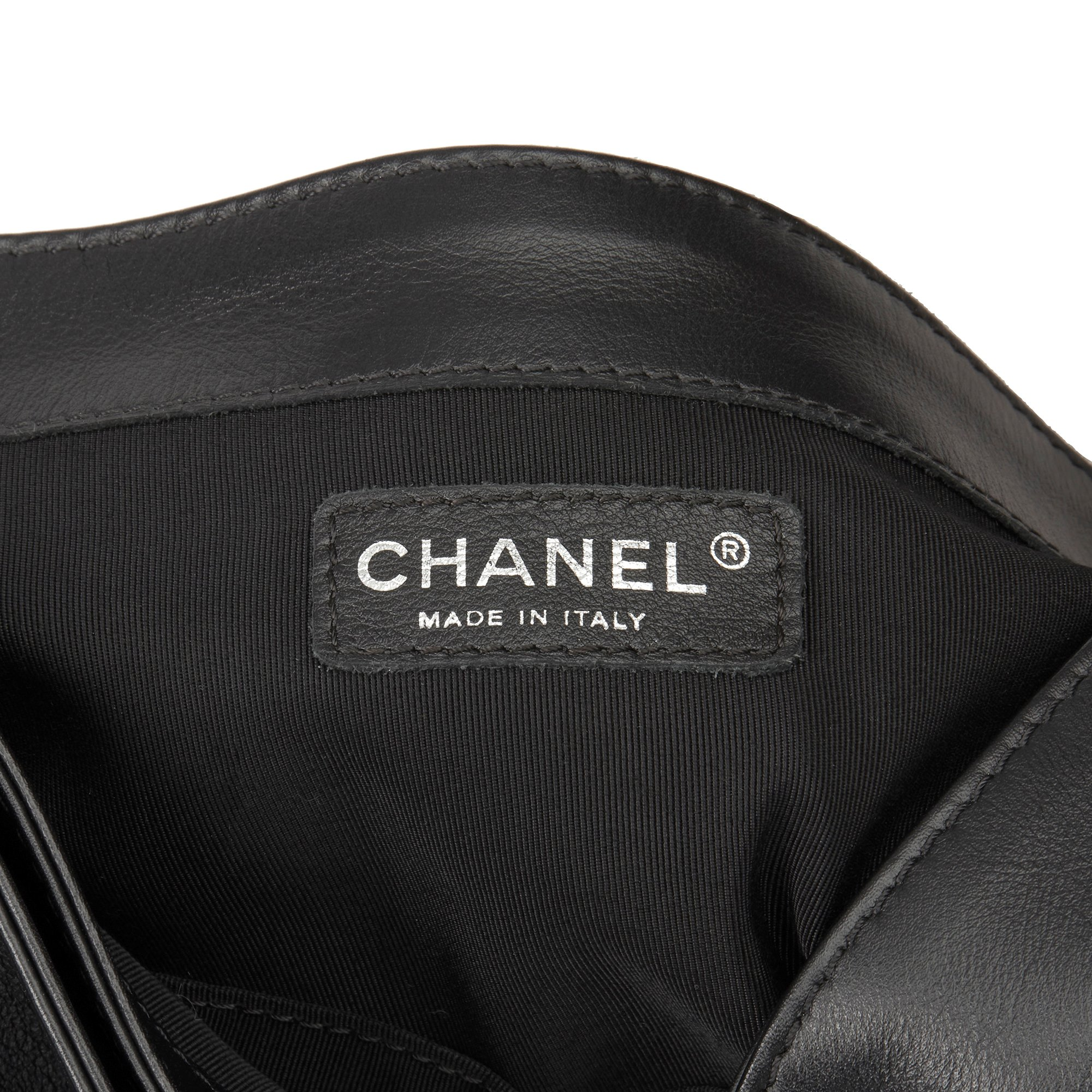 Chanel Black Quilted Calfskin Leather & Tweed Echained XL Le Boy Reverso