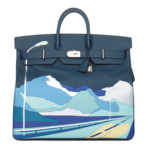 Hermès Bleu de Prusse Togo & Swift Leather Endless Road Birkin HAC 50cm