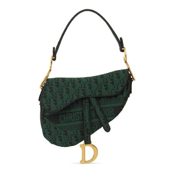 Christian Dior Green & Black Oblique Canvas Saddle Bag