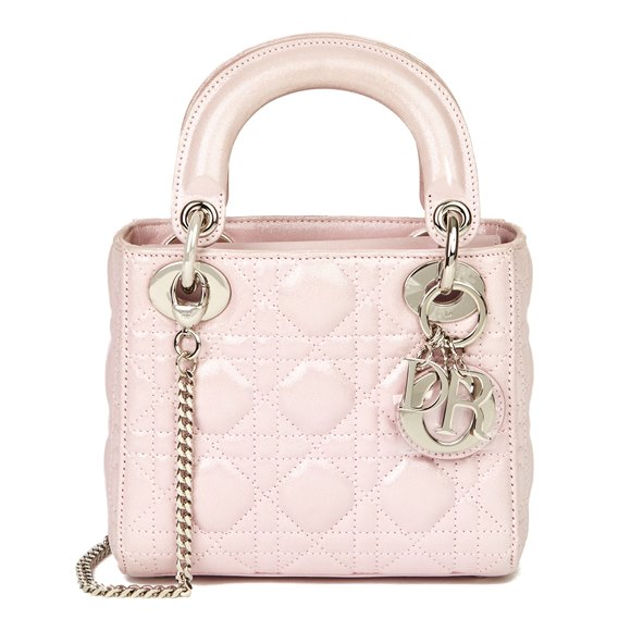 Christian Dior Pink Quilted Metallic Calfskin Leather Mini Lady Dior