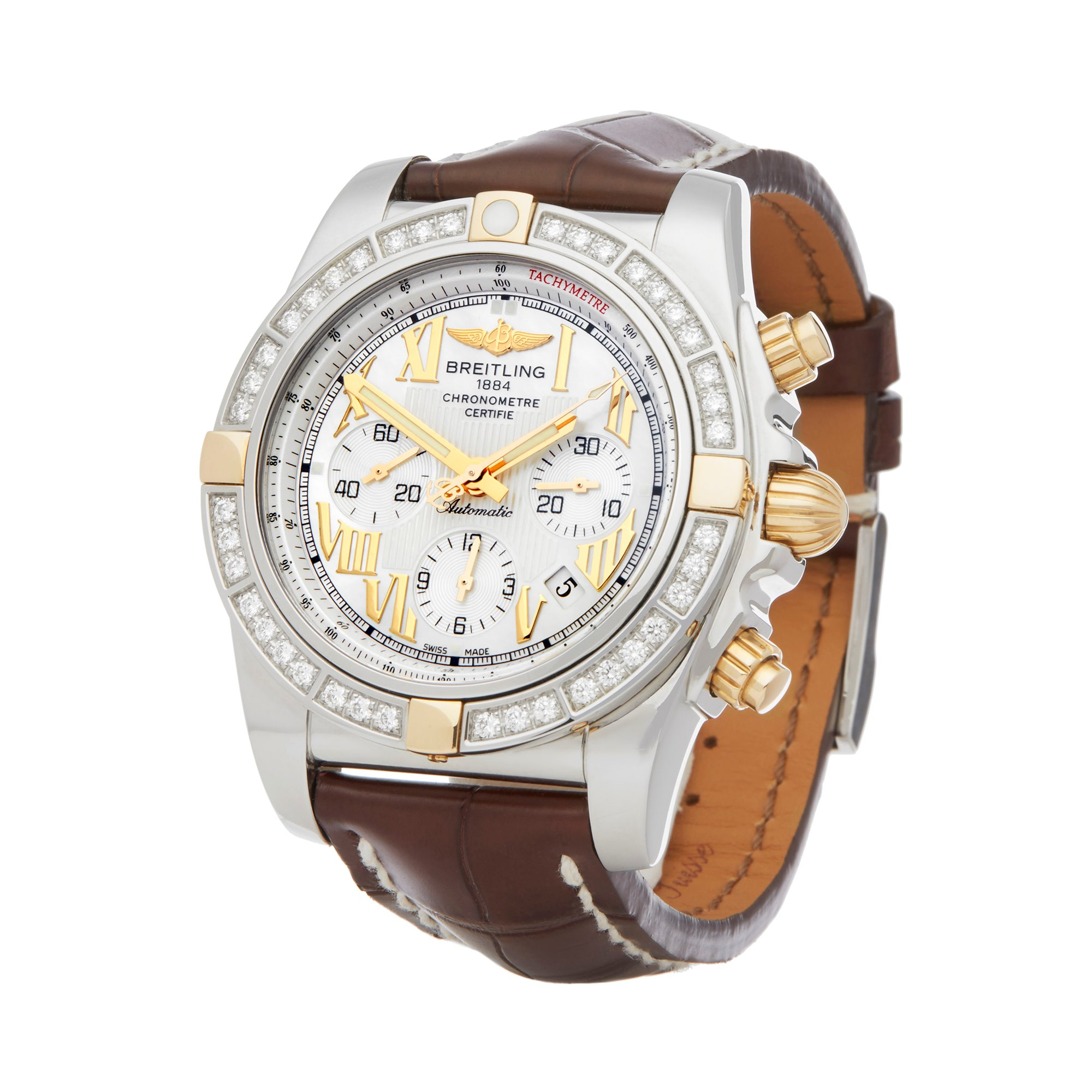 Breitling Chronomat 44 Diamond Chronograph Stainless Steel & Yellow Gold IB011053