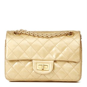 Chanel Gold Quilted Metallic Aged Patent Leather 2.55 Reissue 224 Double Flap Bag