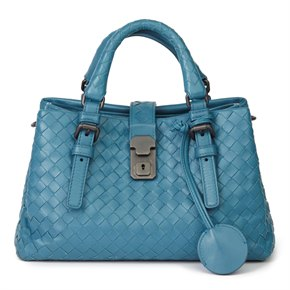 Bottega Veneta Blue Woven Calfskin Leather Mini Roma