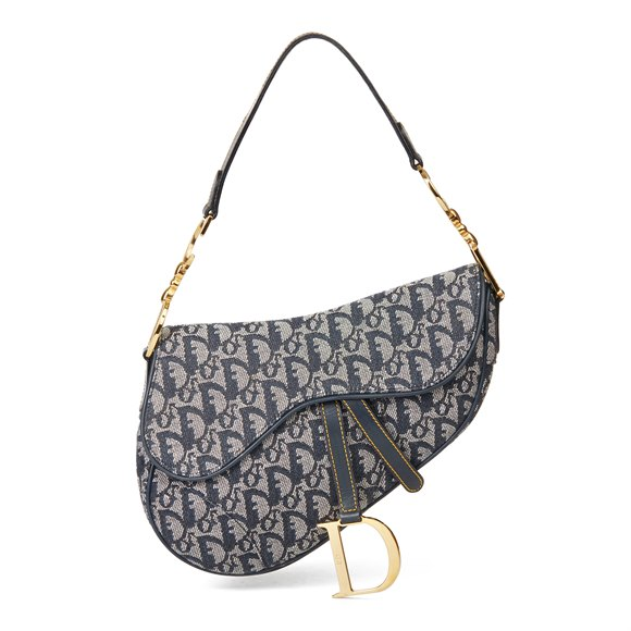 Christian Dior Blue Monogram Canvas Saddle Bag