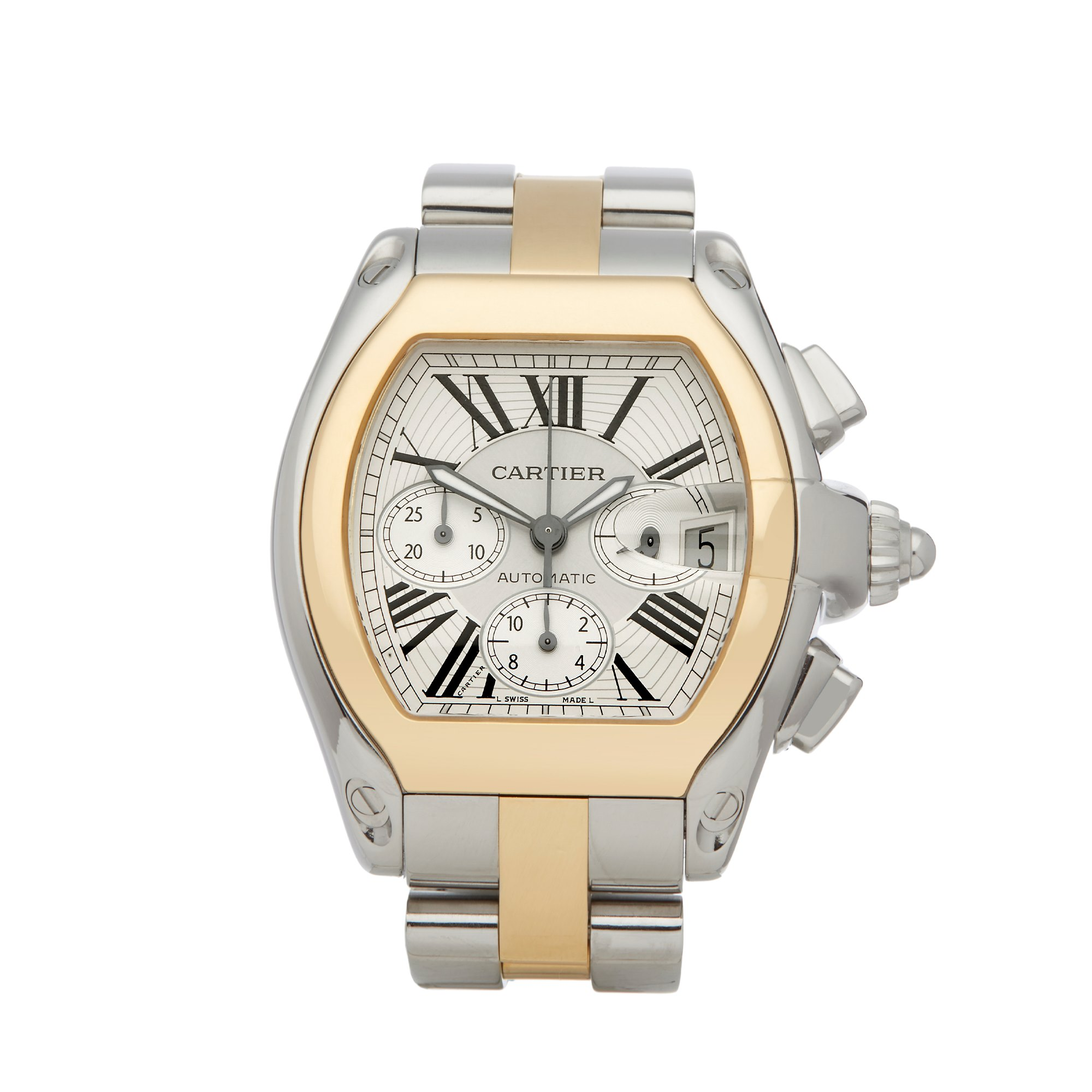 Cartier Roadster XL Chronograph Stainless Steel & Yellow Gold W62027Z1 or 2618