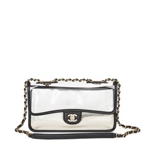 Chanel Clear PVC & Black Lambskin Leather Naked Sand by the Sea Flap Bag