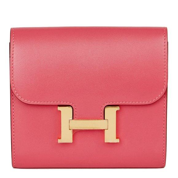 Hermès Rose Lipstick Tadelakt Leather Constance Compact Wallet