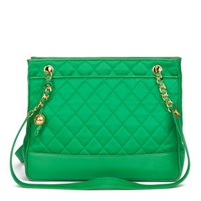 Chanel Green Quilted Satin & Lambskin Vintage Timeless Shoulder Bag