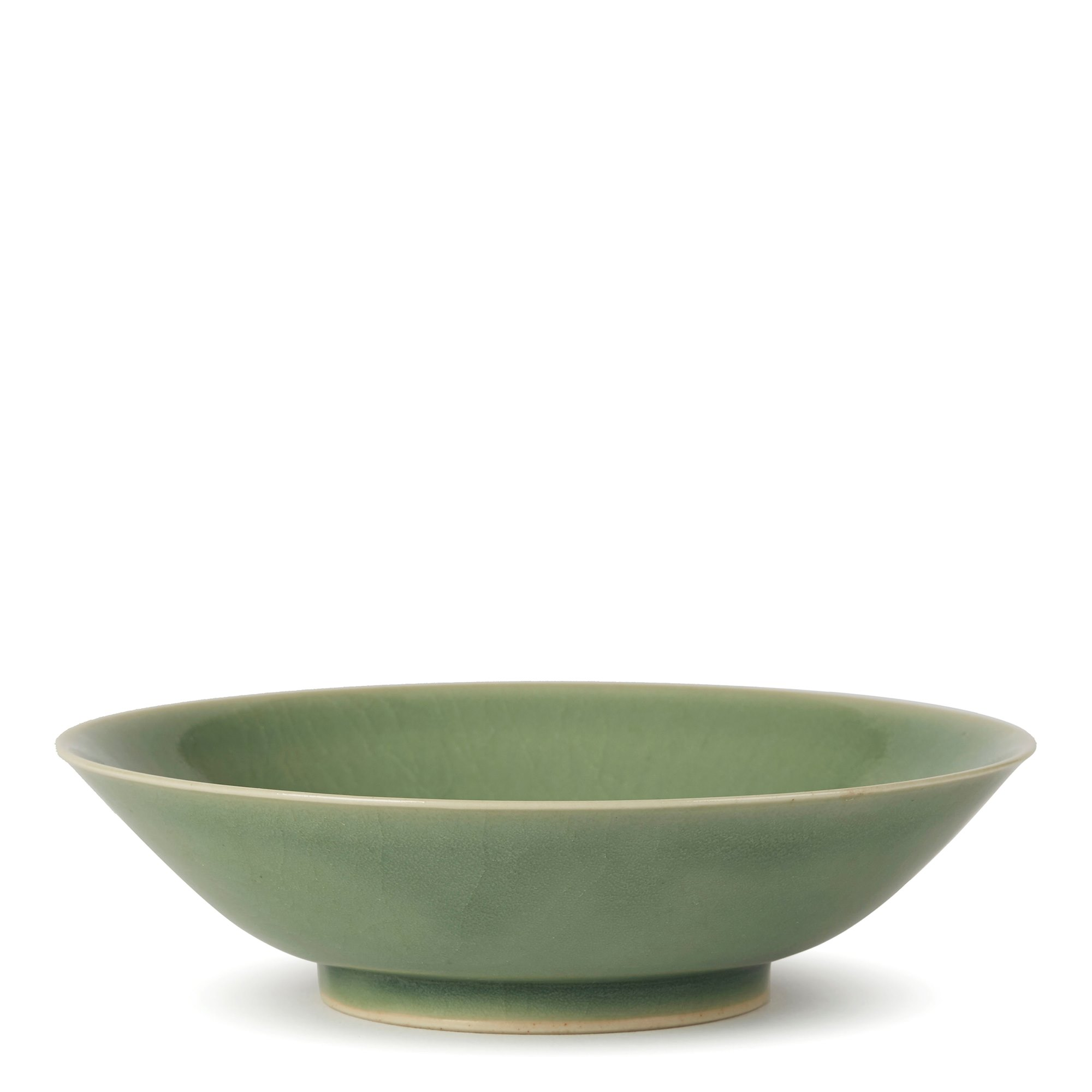 WILLIAM MEHORNAY STUDIO POTTERY GREEN CELADON DISH 1980 Made in 1980