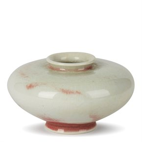 WILLIAM MEHORNAY STUDIO POTTERY RED & WHITE VASE 1980-85