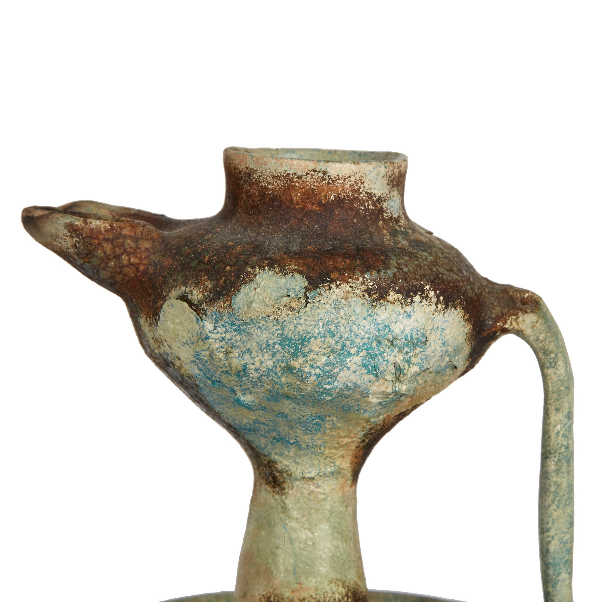 ANTIQUE ISLAMIC TWIN FLAME GLAZED POTTERY OIL LAMP 15TH C. Dates from the 15th Century