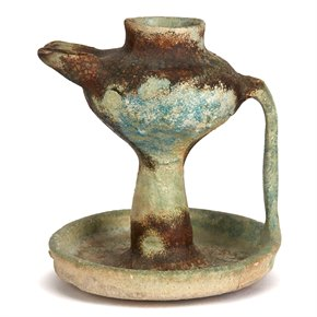 ANTIQUE ISLAMIC TWIN FLAME GLAZED POTTERY OIL LAMP 15TH C.