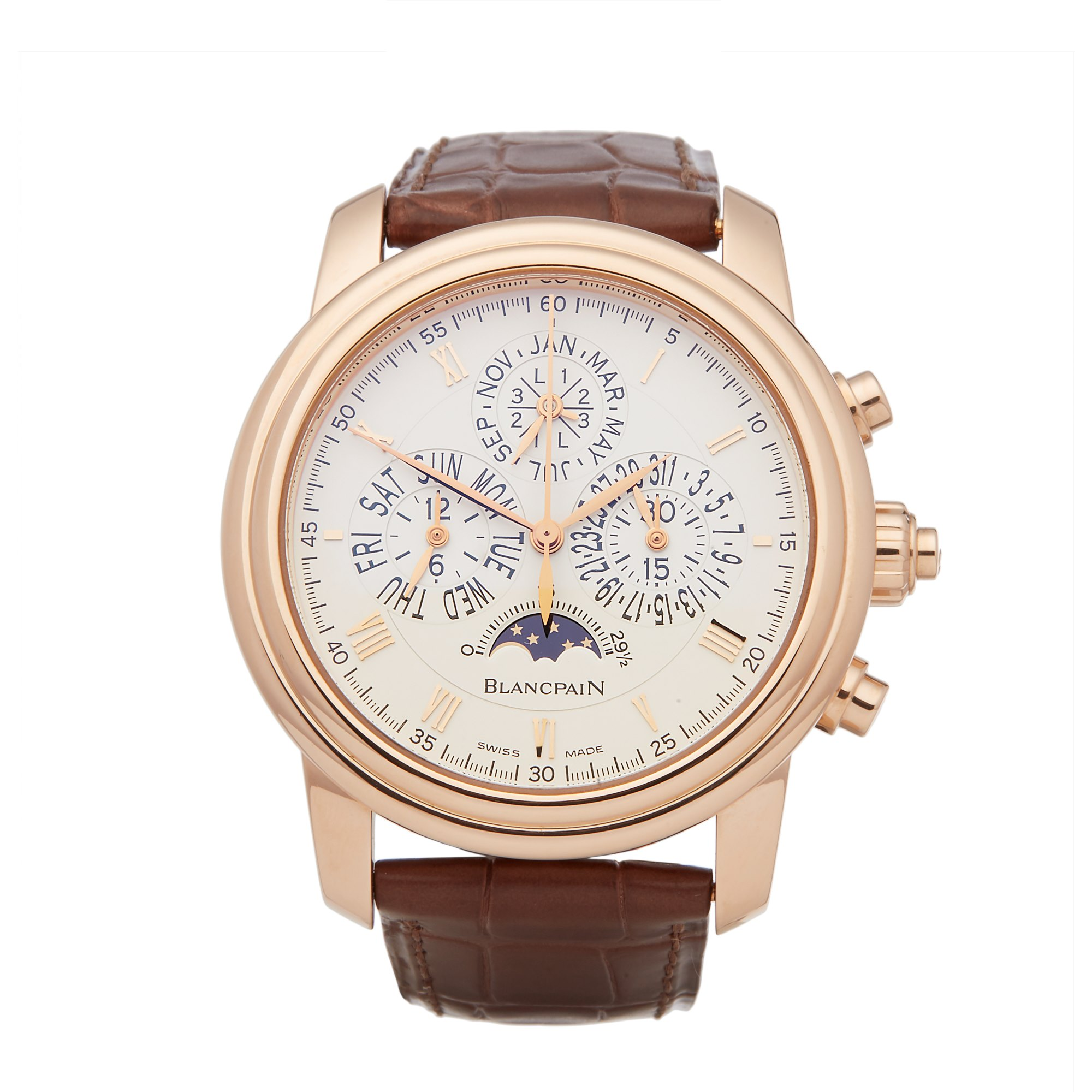 Blancpain Le Brassus Perpetual Calendar Split Seconds Chronograph 18K Rose Gold 4286P-3642-55B