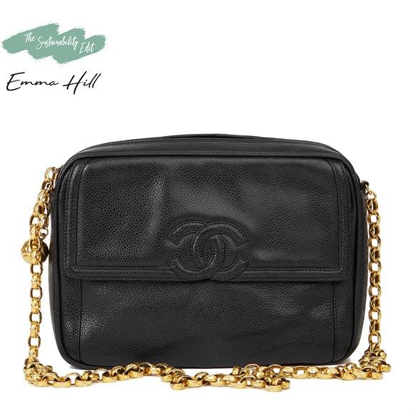 Chanel Black Caviar Leather Vintage Camera Bag