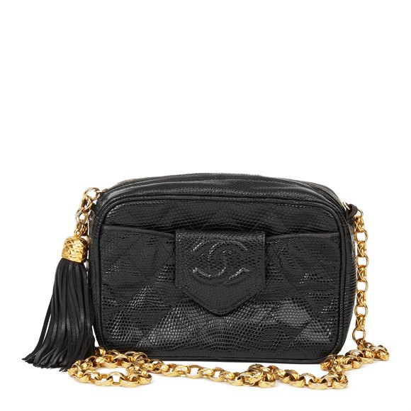 Chanel Black Quilted Lizard Leather Vintage Camera Bag