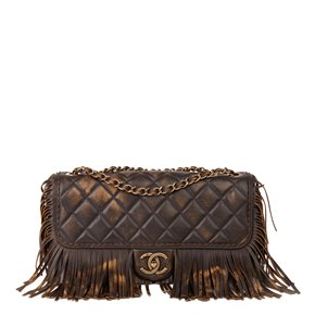 Chanel Brown & Bronze Quilted Distressed Lambskin Paris-Dallas Classic Fringe Flap Bag