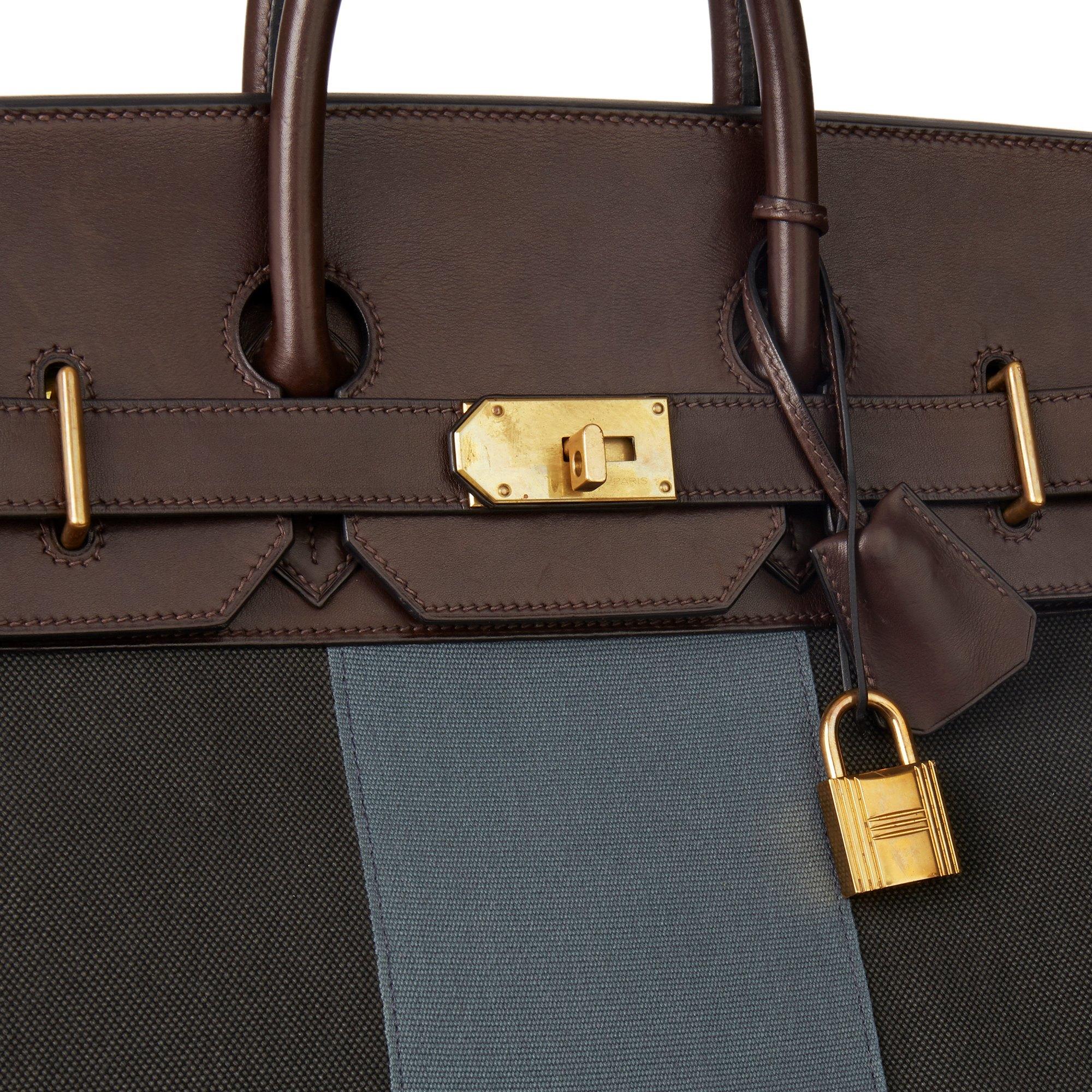 Hermès Ebene Barenia Leather & Green, Blue Galon Toile H Flag Birkin 50cm HAC