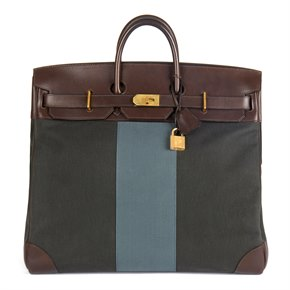 Hermès Ebene Barenia Leather & Green, Blue Galon Toile H Flag Birkin 50cm HAC